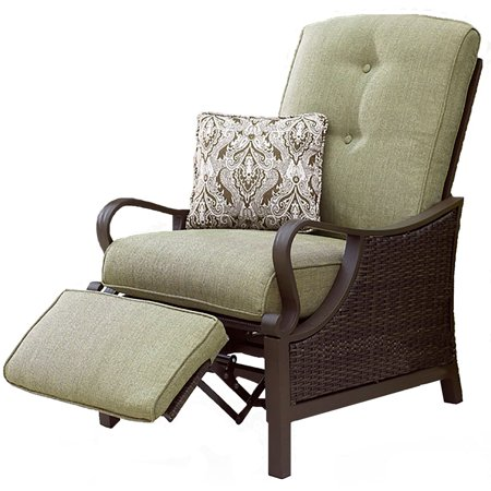 Hanover Ventura Luxury Recliner Chair Outdoor Wicker Patio Furniture Relaxing Seat Lawn Garden Deck Lounger with Olive Cushions ()