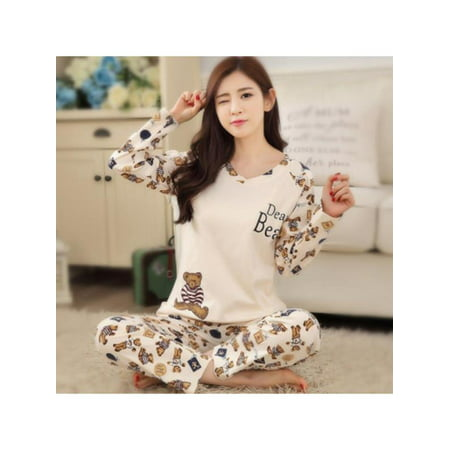Funcee Women Cartoon Print Long Sleeve Fall Winter Pajama Sleepwear Set - Pj & Me