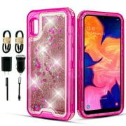 Value Pack + for Samsung Galaxy A10E Hard Case Full Body Liquid Glitter Sparkling Bling Hybrid Phone Case Glitter Shock proof Edge Slim Bumper Scratch Cover (Pink)