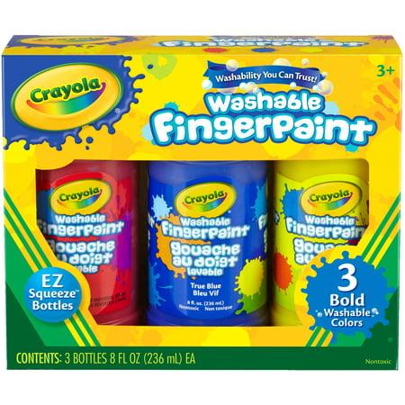 Crayola Washable Finger Paint 8oz 3/Pkg-Primary - Halloween Finger Paint Ideas