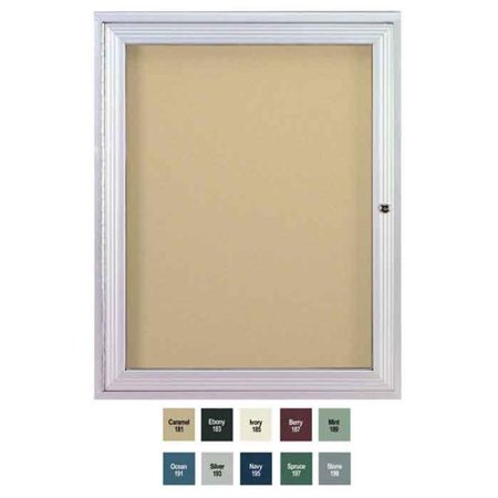 36 in. x 24 in. 1-Door Satin Aluminum Frame Enclosed Vinyl Bulletin Board - Caramel