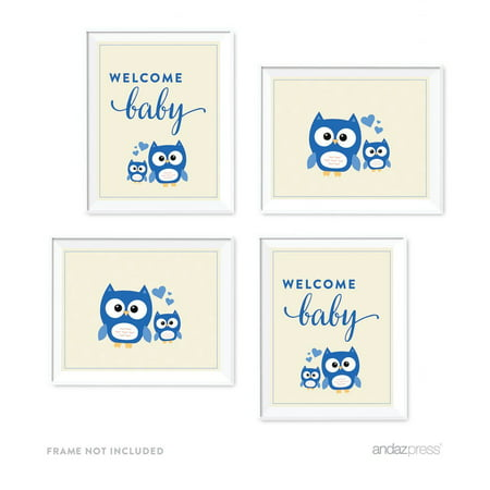 Boy Owl Baby Shower Party Signs & Graphic Decorations, 4-Pack - Owl Boy Baby Shower
