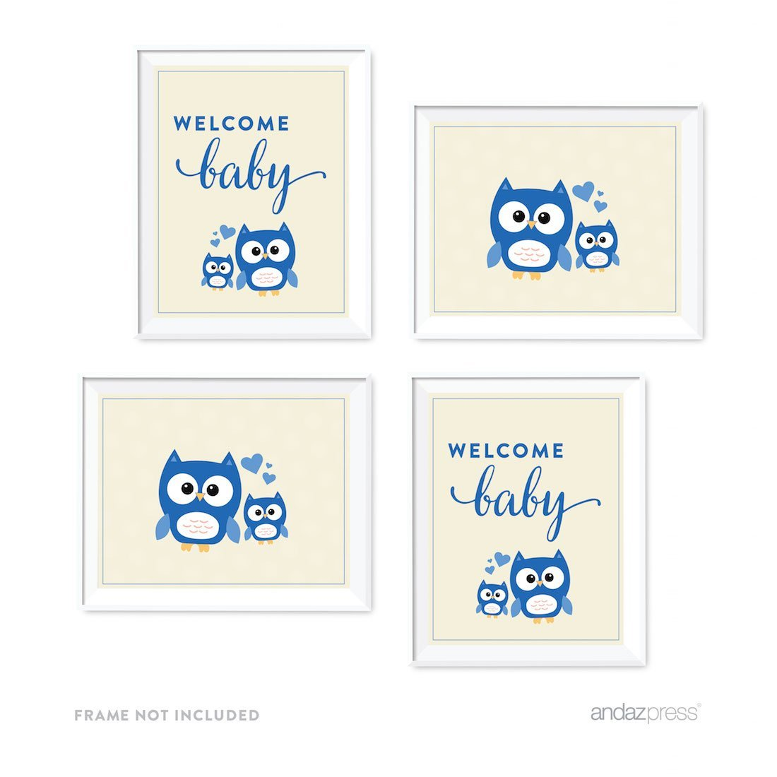 Boy Owl Baby Shower Party Signs & Graphic Decorations, 4-Pack