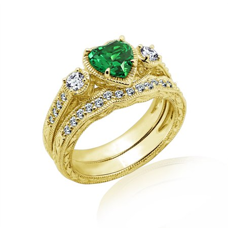 Gemour Yellow Gold Plated Sterling Silver Synthetic Emerald Heart Swarovski Zirconia Antique Ring Set, Size 8