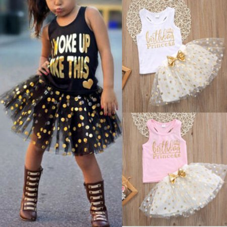 Hirigin Baby Kid Girls Summer Top T-shirt Polka Dot Princess Party tutu Dress Clothes](Black Tutu Party City)