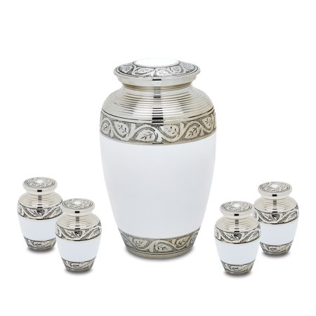 Urnsdirect2u Grecian White Adult Cremation Urn with 4 Tokens, 232 cubic inches