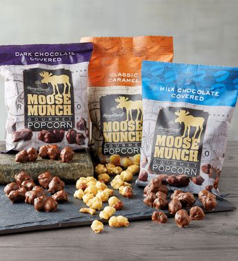 Moose Munch Premium Popcorn Tin Trio by Harry & David, Classic Caramel, Milk Chocolate, Dark Chocolate (3-Pack)