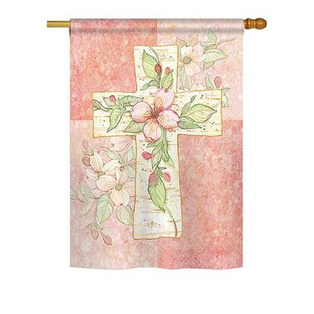 Breeze Decor Pink Flower Cross 2-Sided Vertical Flag