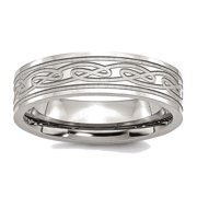 Men's Stainless Steel Celtic Knot Flat Brushed and Polished Wedding Band Ring
