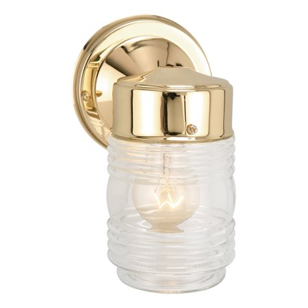 Polished Brass Vintage Wall (Design House 502179 Jelly Jar 1-Light Indoor/Outdoor Wall Light, Polished Brass )