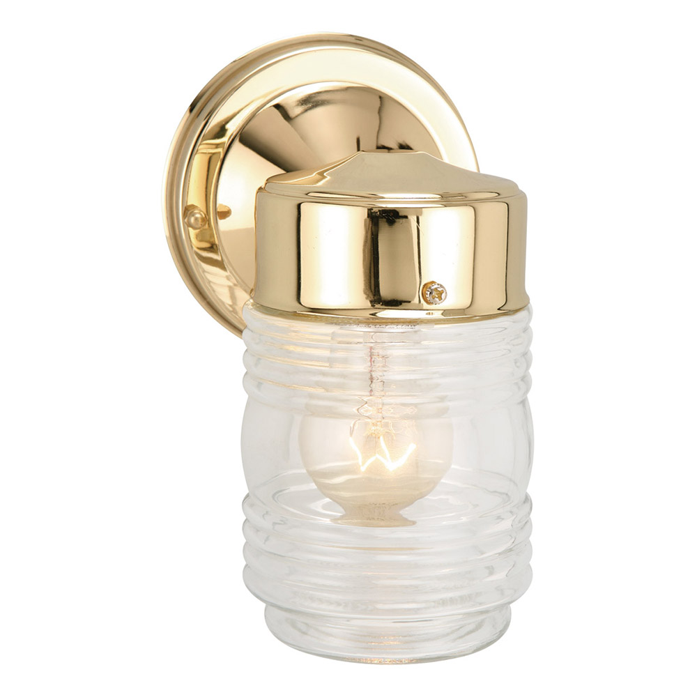 Design House 502179 Jelly Jar 1-Light Indoor/Outdoor Wall Light, Polished Brass