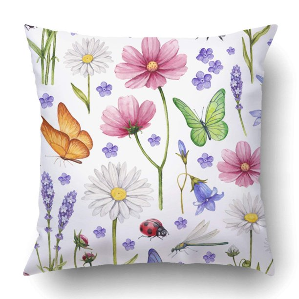 Bpbop Vintage Wild Flowers And Insects Watercolor Summer Pattern Lavender Victorian Pillowcase Cover Cushion 18x18 Inch Walmart Com Walmart Com