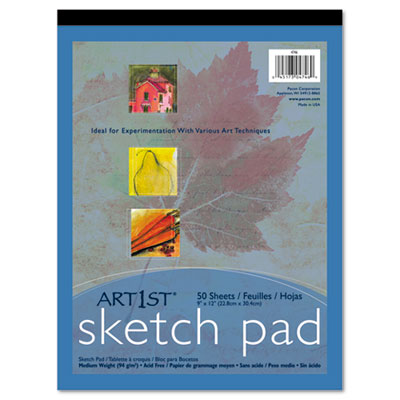 Art1st Sketch Pad, 60 lbs. Heavyweight Drawing Paper. 9 x 12, 50 Sheets, Sold as 1 Pad, 50 Sheet per Pad