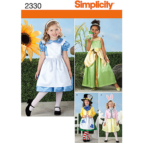 Simplicity Pattern Alice/Mad Hatter/White Rabbit Costumes, (3, 4, 5, 6, 8)