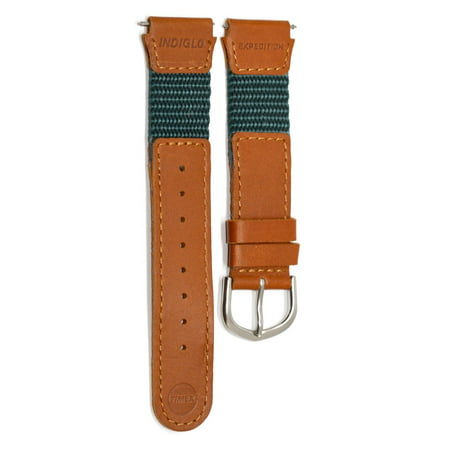 16MM GREEN BROWN LEATHER NYLON IRONMAN EXPEDITION INDIGLO WATCH BAND STRAP (Timex Watch Strap 16mm)
