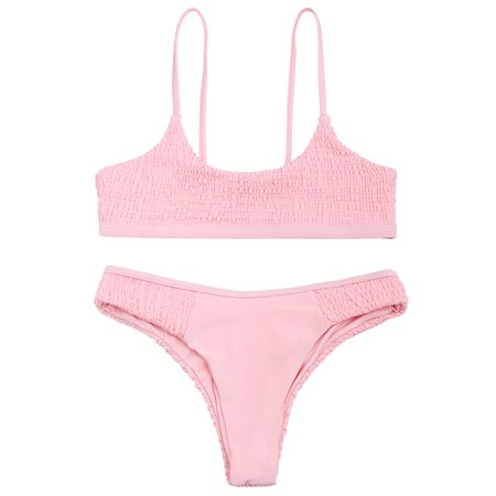 2e1c73cf555ea Smocked Scoop Bikini Set Sexy High Waisted Swimsuit For Women Girls Two  Piece - Walmart.com