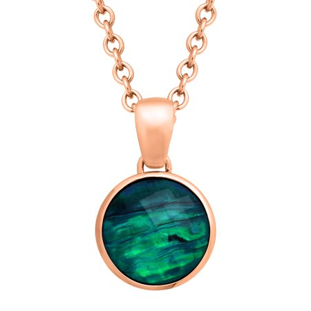 12 ct Natural Quartz & Abalone Pendant Necklace in 18kt Rose Gold-Plated Bronze