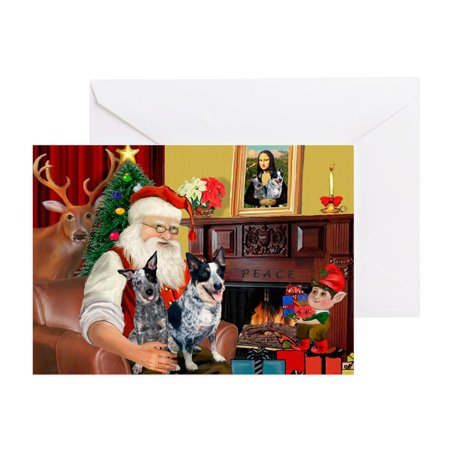 CafePress - Santa's Aussie Cattle Dog(S) - Greeting Card, Blank Inside Glossy