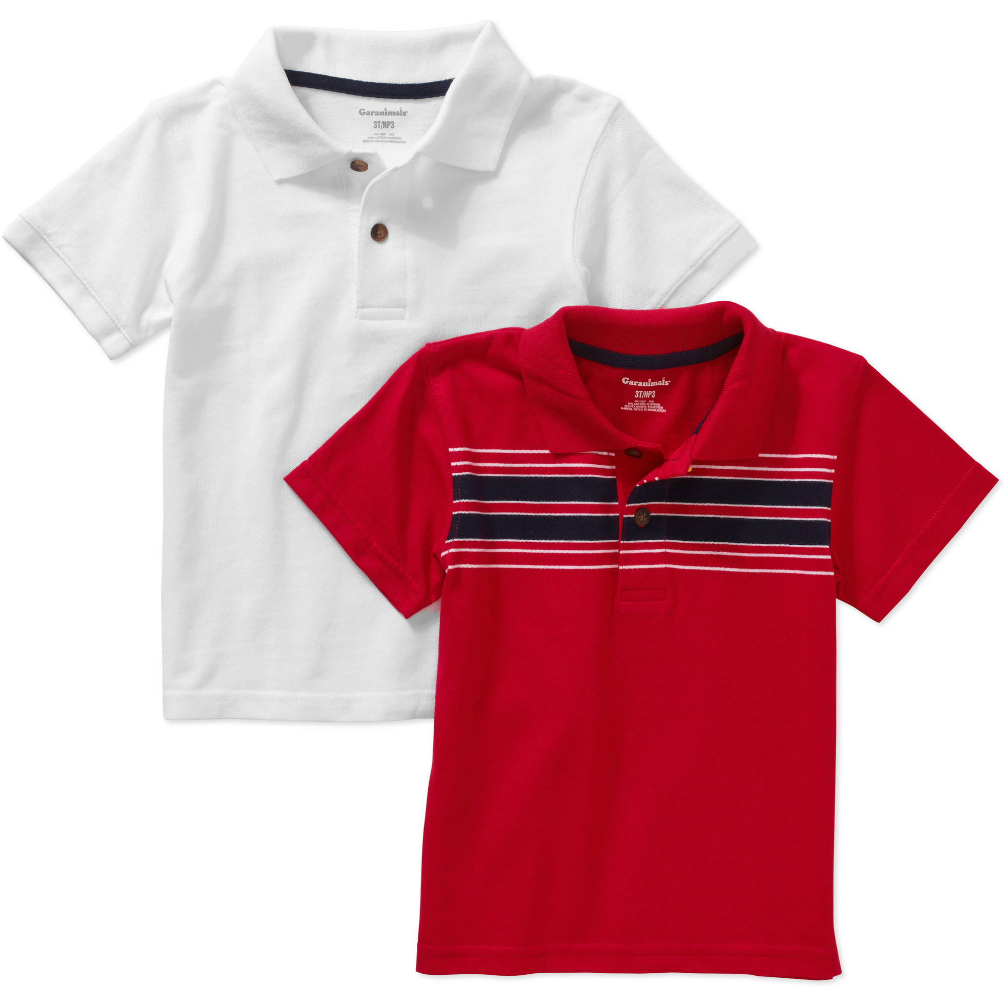 Garanimals Baby Toddler Boy Short Sleeve Solid & Stripe Polo Shirts, 2-pack
