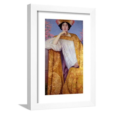 Portrait of a Woman in a Golden Dress, Painted in Collaboration with Ernst Klimt (1864-92) Franz… Framed Print Wall Art By Gustav Klimt Hand Painted Woman Portrait