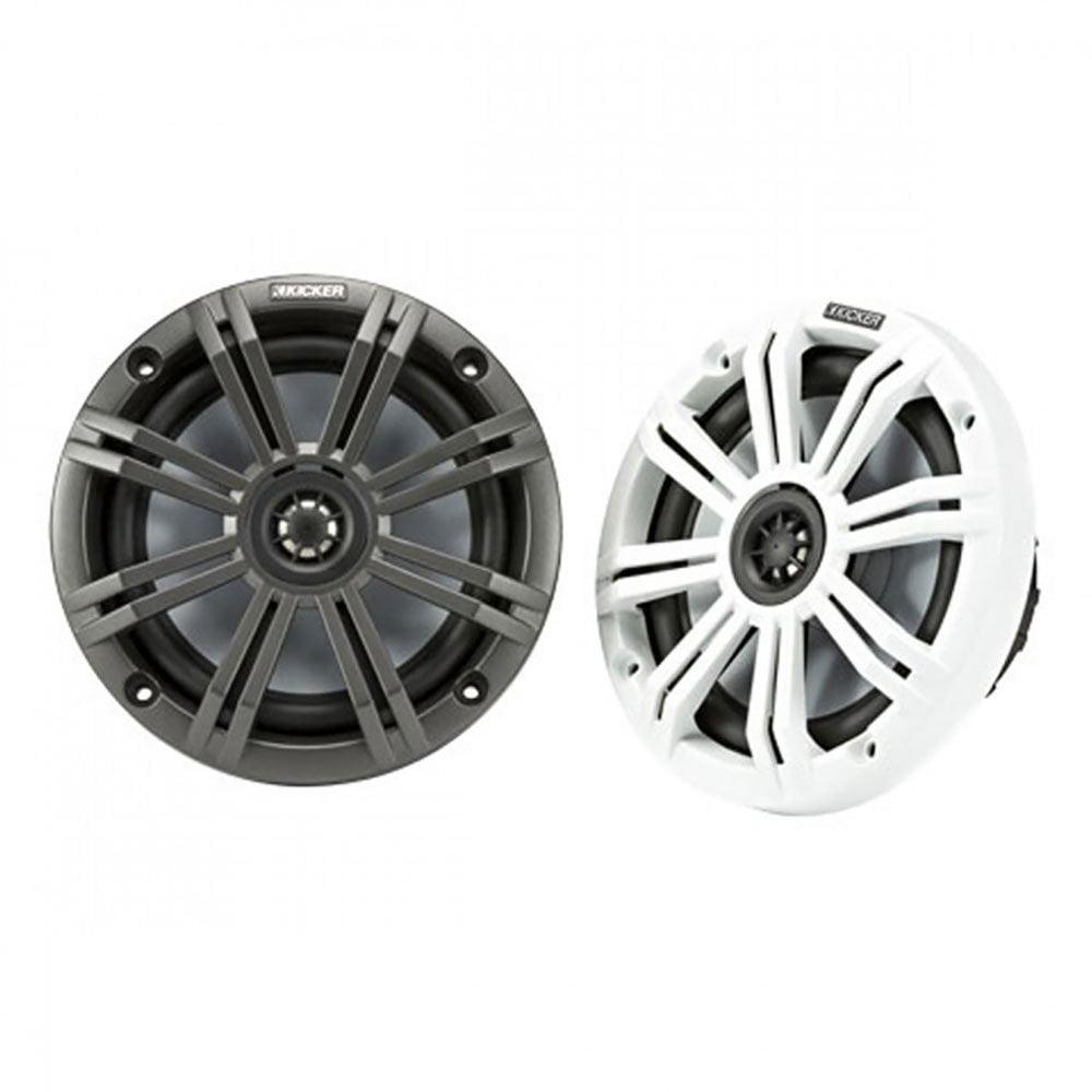 Kicker KM 6.5 Inch Marine Marvel UV Treated Speakers, Black and White Grilles