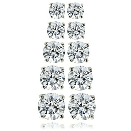 10.44 Carat T.G.W. CZ Sterling Silver Stud Earrings, Set of 5 (Crislu Stud)