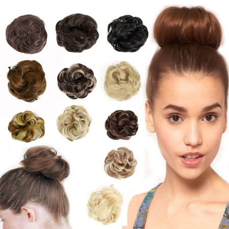 FLORATA Clip in Hair Bun Extension Scrunchie Bun up Do Hair Piece Hair Ribbon Ponytail Extensions Wavy Curly