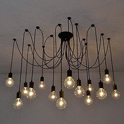 Fuloon Vintage Edison Multiple Ajule Diy Ceiling Spider Lamp Light Pendant Lighting Chandelier Modern Chic