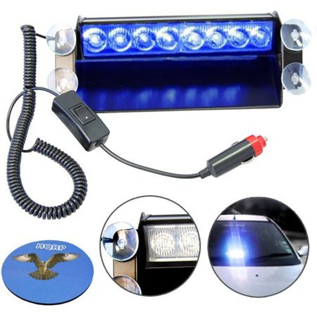 HQRP Car 8-LED Emergency Vehicle Dash Warning Strobe Flash Light 12V 8 Blue LEDs 4x4 Type + HQRP