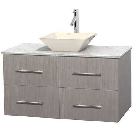 Wyndham Collection Centra 42 Inch Single Bathroom Vanity In Gray Oak White Carrera Marble