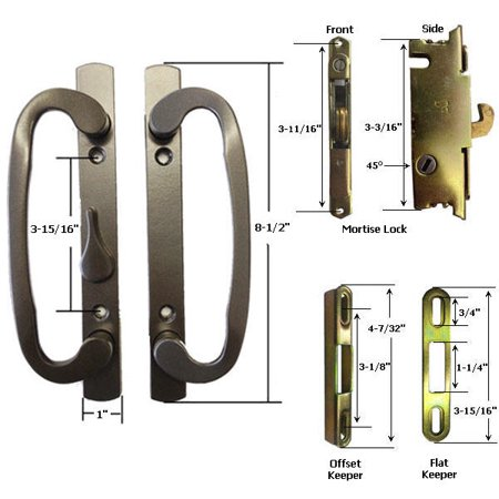 Sliding Glass Patio Door Handle Kit with Mortise Lock and Keepers, B-Position, Latch Lever is Off-Centered, Bronze, Non-Keyed ()