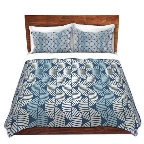 DiaNoche Designs Waves On Blue Duvet Cover Set