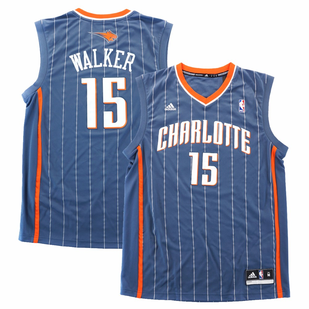 Kemba Walker Charlotte Bobcats NBA Adidas Men's Grey Official Replica Jersey