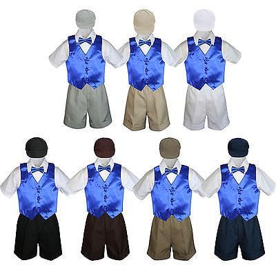 Boy Toddler Formal Royal Blue Vest Bow Tie White Black Gray Brown Hat 5pc S-4T - Black Cabbie Hat