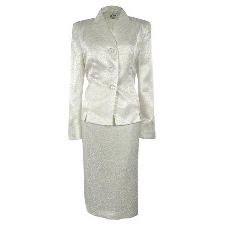 Womens Fl Jacquard Business Suit Jacket Skirt Set