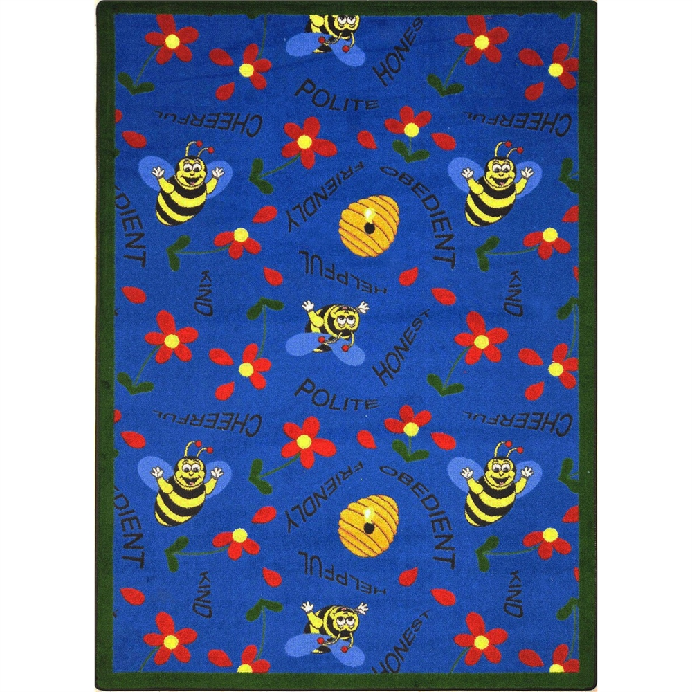 "Joy Carpets Kid Essentials - Early Childhood Bee Attitudes, 7'8"" x 10'9"", Blue"