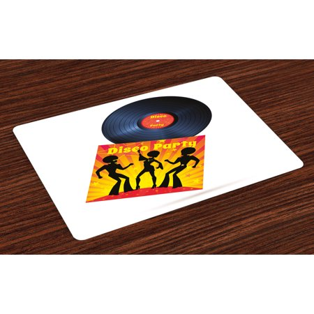 70s Party Placemats Set of 4 Vinyl Record Cover with Disco Party Illustration Dancers Music Art Print, Washable Fabric Place Mats for Dining Room Kitchen Table Decor,Orange Yellow White, by Ambesonne (70s Gogo Dancer)
