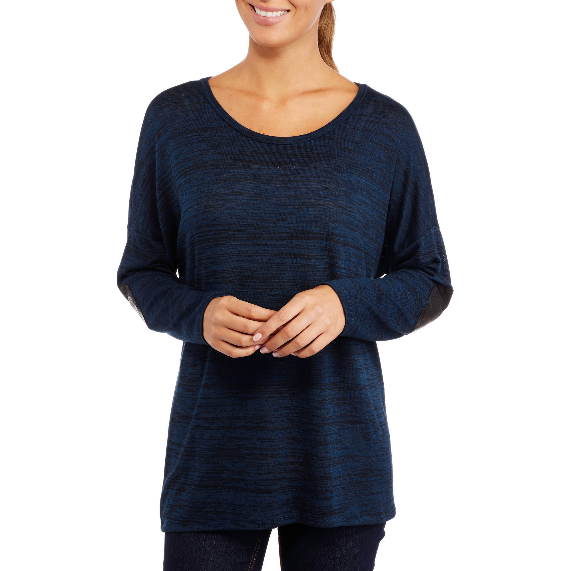 Women's Plus-Size Long Sleeve Solid Hi-Lo Tunic with Elbow Patch Detail