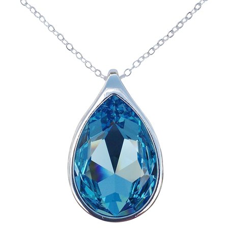Aquamarine Swarovski Crystal Pear/Teardrop Pendant on 18 2mm Silver-Plated Necklace Chain