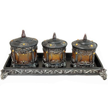 Amber Canister (Contempo Polyresin 3-Piece Canister Set with Display Rack - Amber)