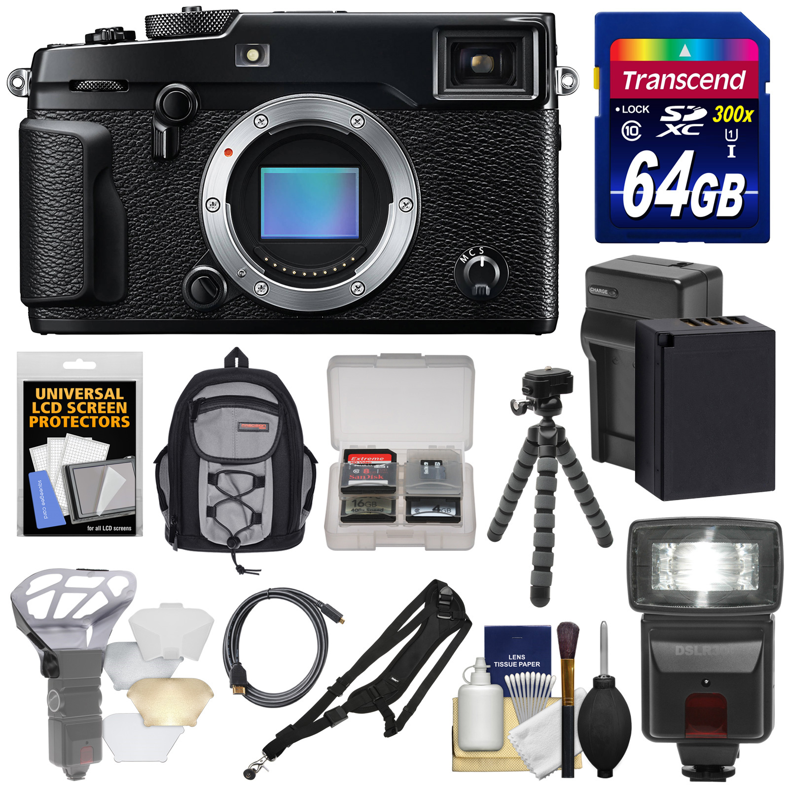 Fujifilm X-Pro2 Wi-Fi Digital Camera Body with 64GB Card + Battery & Charger + Flash + Sling Backpack + Tripod + Strap + Kit