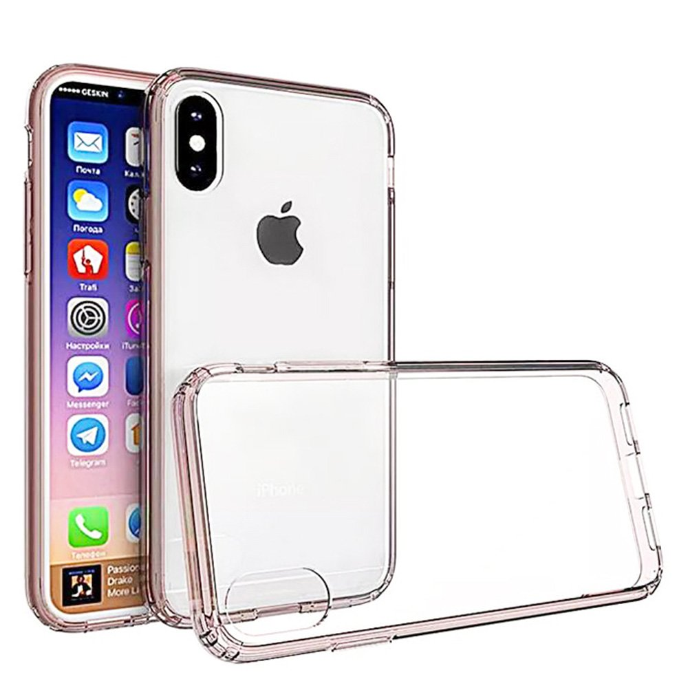 iPhone X Case, Premium Ultra Slim Crystal Transparent Clear Hard Back Case ShockProof Pink TPU Bumper for Apple iPhone X - Slim Fit, Drop Protection, Raised Bezels, Protection Around Camera Lens