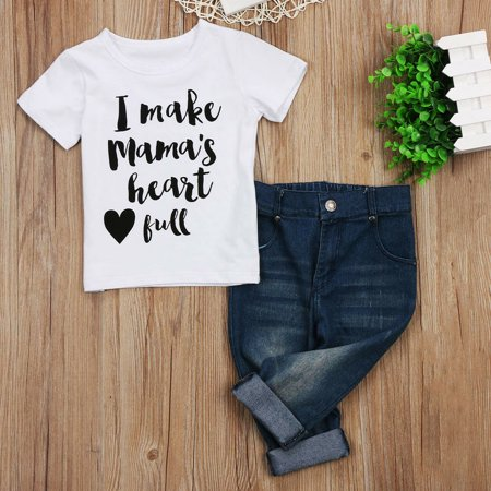 Hot Tumblr Outfits (Hot Toddler Kids Baby Boys Tops T-shirt Jeans Denim Pants Outfits Set)