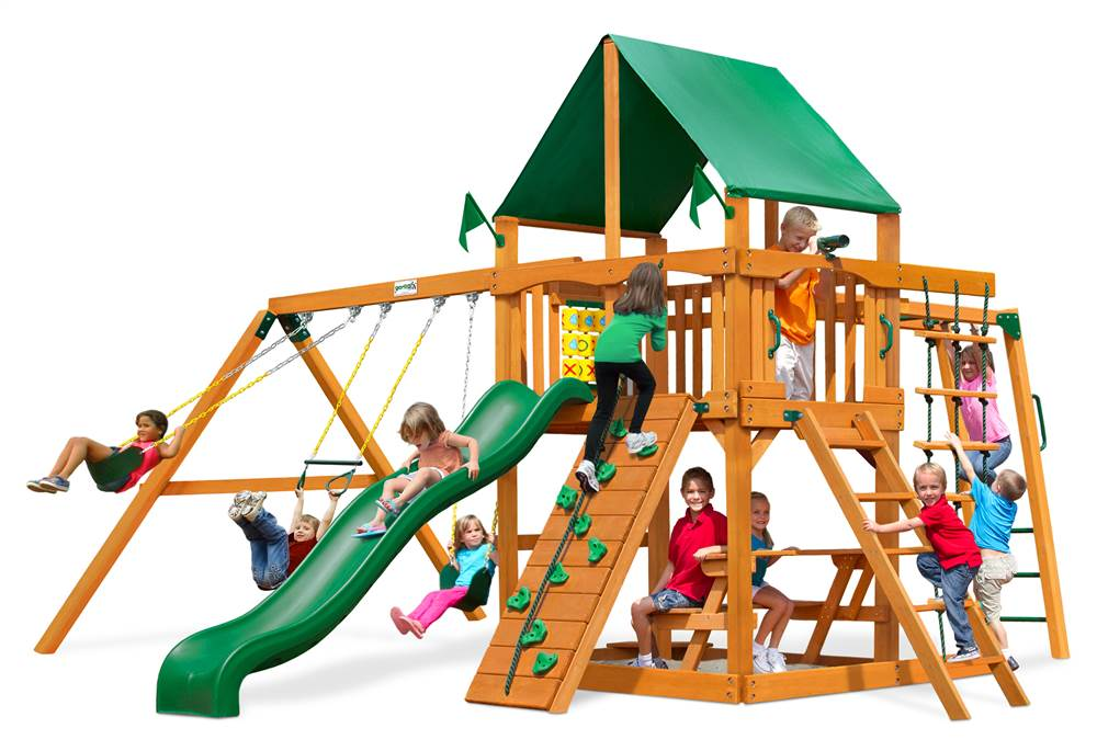 Gorilla Playsets Navigator Swing Set with Natural Cedar Posts and Deluxe Green Vinyl Canopy by Gorilla Playsets