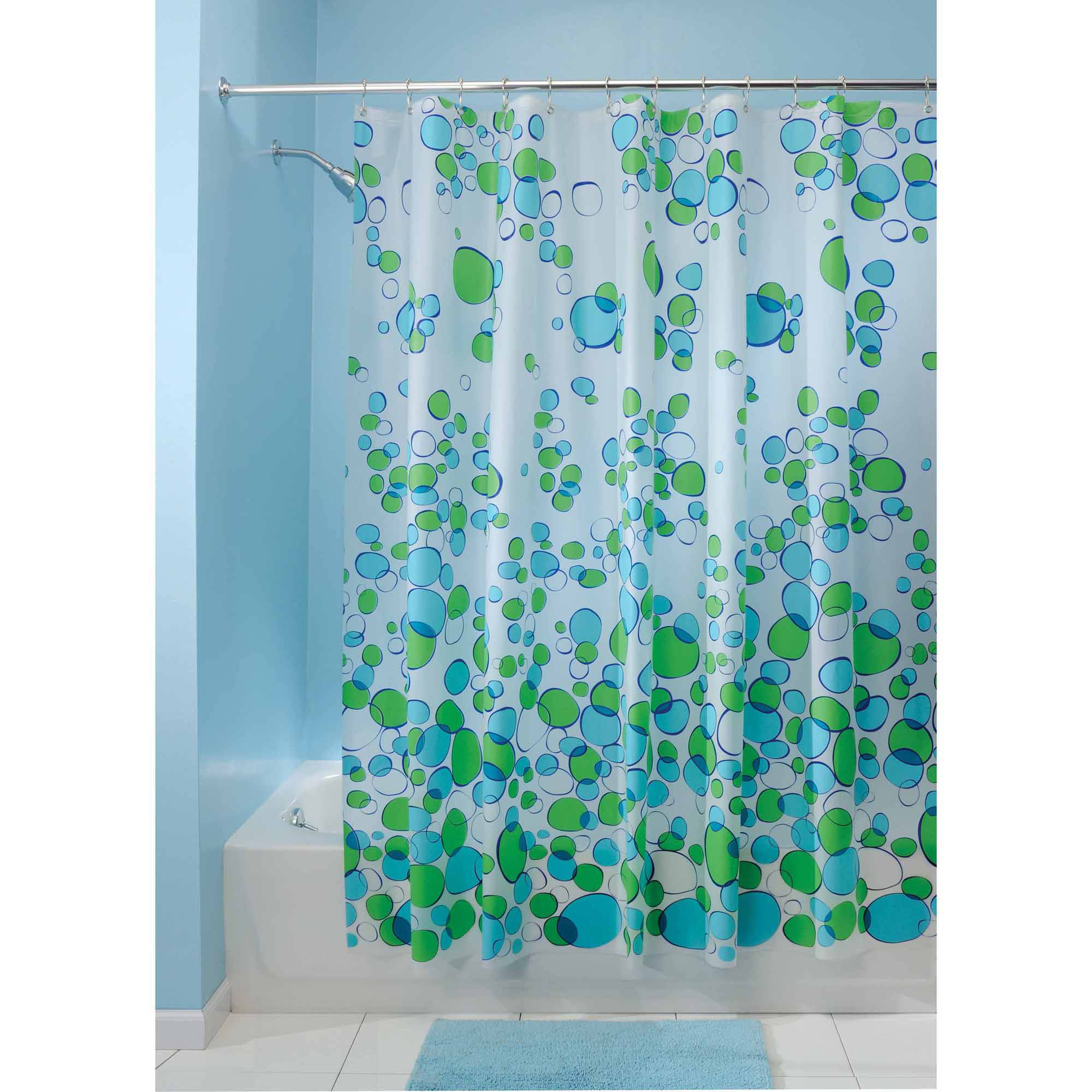 "InterDesign Bubblz Frosted PEVA Shower Curtain, 72"" x 72"""