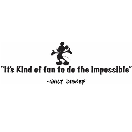 Kind Of Fun To Do The Impossible Walt Disney Quote Mickey Mouse Silhouette Bedroom Decor Custom Wall Decal Vinyl Sticker 8 Inches X 20 Inches](Mickey Mouse Custom)