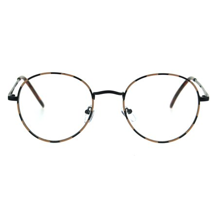 Classic 90s Metal Rim Round Clear Lens Eye Glasses Frame Black Tortoise (Big Glasses Frames)