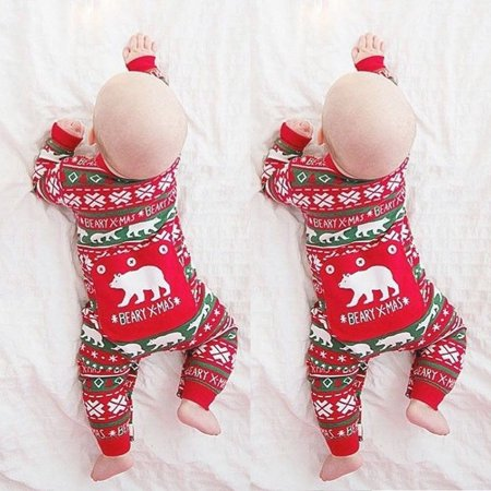 Cute Newborn Kids Baby Boy Girl Christmas Romper Bodysuit Clothes Outfit Set