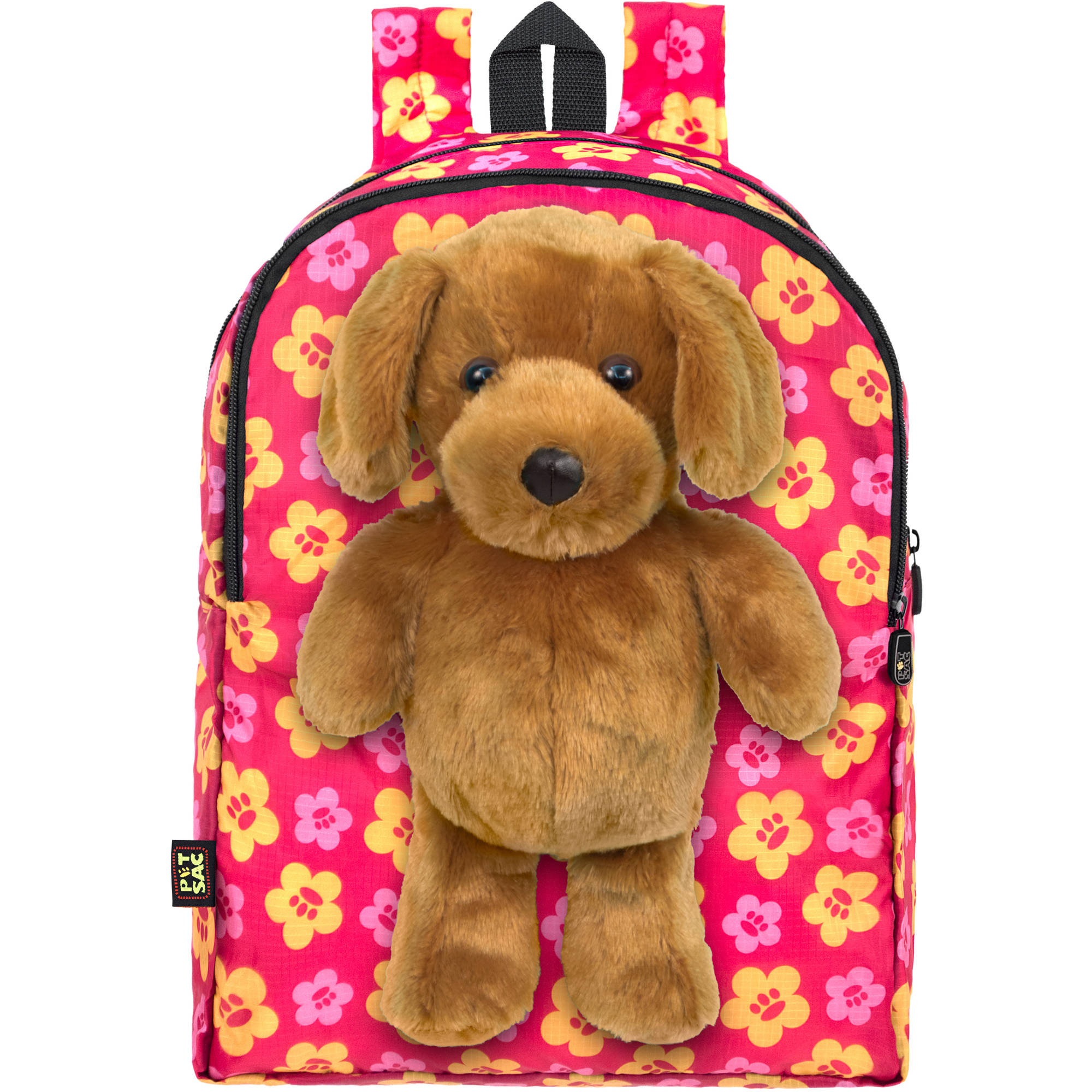 PetSac Buddy the Dog with Pink Floral Printed Backpack - Walmart.com