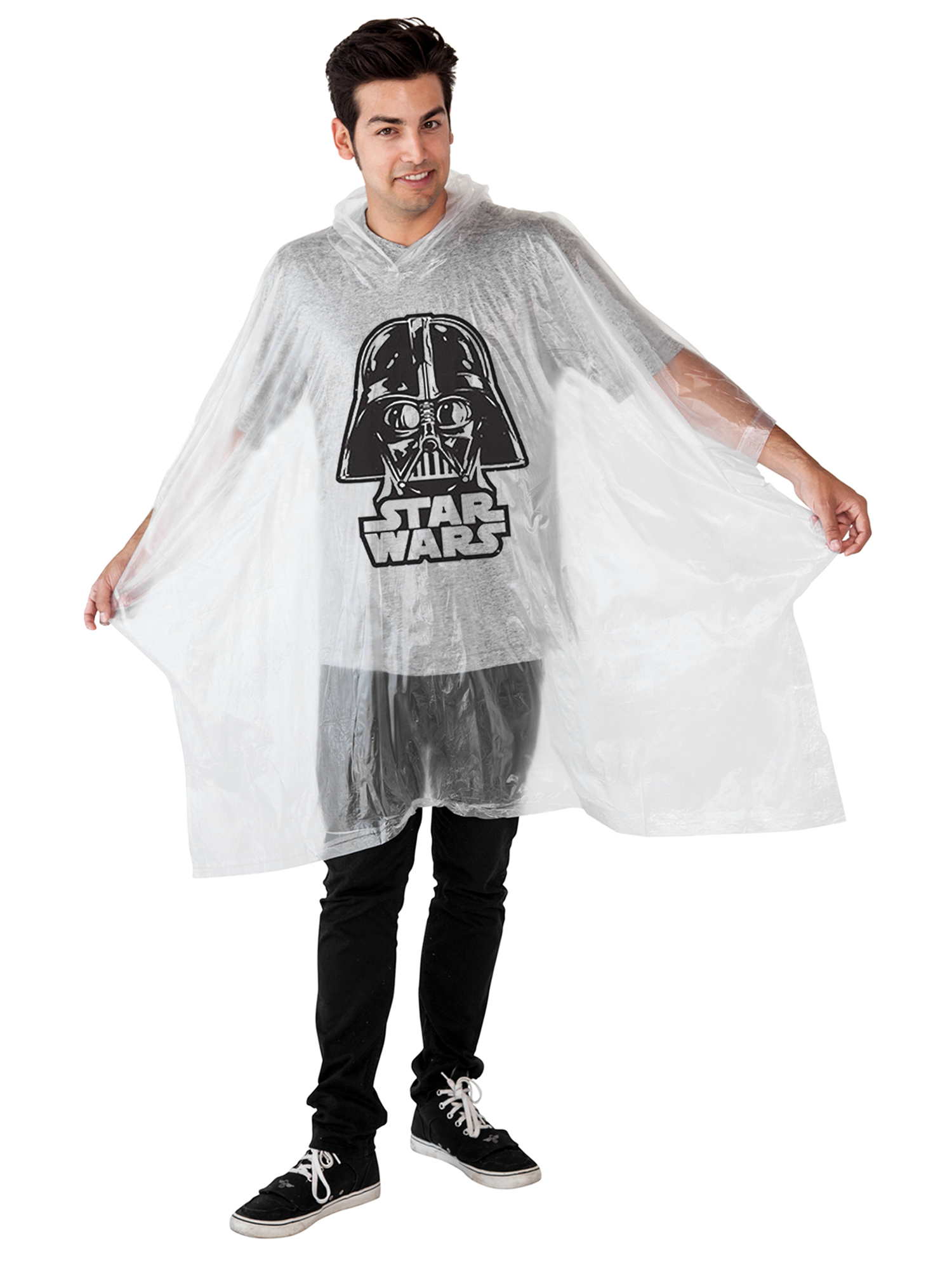 Star Wars Darth Vader Adult Men Clear Waterproof Raincoat Poncho by Jerry Leigh
